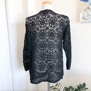 LIZWEAR black crochet cardigan open weave cotton L